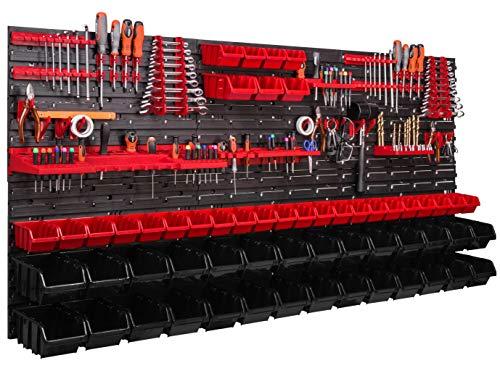 173 x 78 cm Stapelboxenwandregal Werkstattregal Sichtlagerkiste Box Schütte Werkzeughalter Haken (ITBNN600x6-U2111-MIX58)