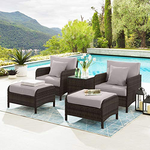 Tribesigns 5 Piece Wicker Patio Furniture Set, Modern PE Rattan Patio Set Outdoor Furniture with Ottoman and Glass Table, Lounge Chair Conversation Set for Poolside Garden (Brown + Gray)