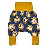 la.nunu Hose für Kinder - Löwen Gelb 74-80 - Kinderhose aus Baumwolle - Handarbeit - Baby Jungen Mädchen Pumphose Jogginghose Haremshose Mitwachshose