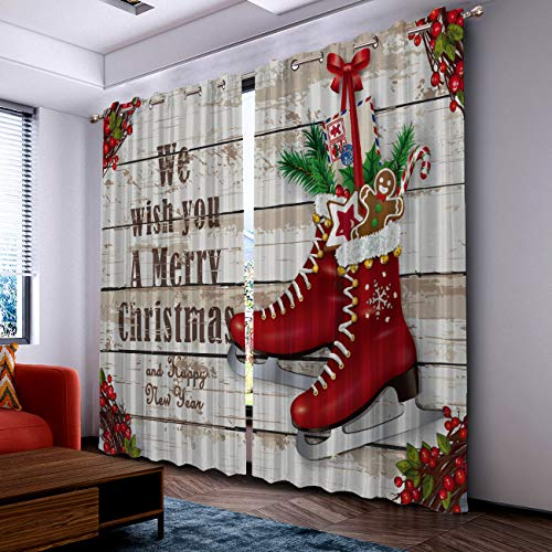 """Prime Leader We Wish You a Merry Christmas Curtains for Living Room- Darkening Thermal Insulated Window Treatment Curtains, with Grommet Home Decor 52"""" x 84"""", 2 Panels"""