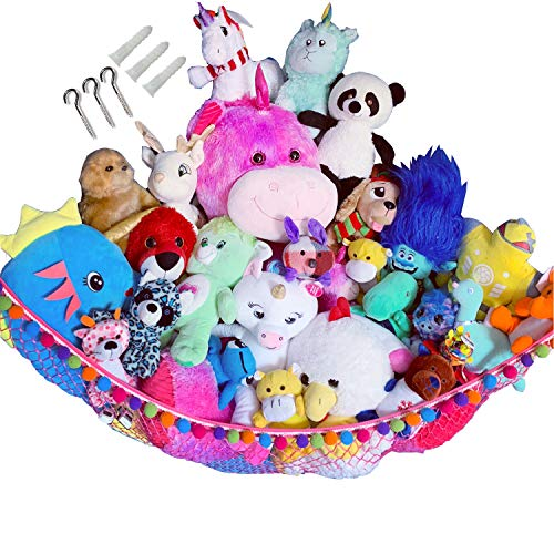 HOME4 Plush Animal Teddy Bear Hanging Storage Toys Hammock Net With Fun Poms Poms  Organize Small Large Giant Stuffed Toys Balls Great Gift for Boys Girls Instead of Bins Chest  Pink