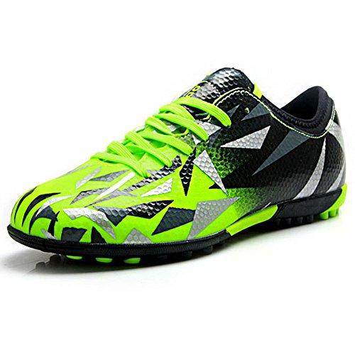Tiebao Unisexo Niños Adulto Con Cordones Caucho Tacos Zapatos De Fútbol Botas Para El Suelo Artificial Duro Interior Verde S76516 Júnior EU35