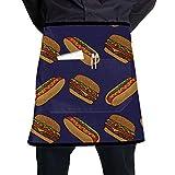 N\A Delantal de Cintura para niñas, Comida rápida, Deliciosa Hamburguesa, Camarera, Medio Delantal con Bolsillo Grande, Unisex para Cocina, elaboración de Dibujo para Barbacoa