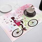 FloraGrantnan - Manteles individuales de cocina, resistentes al calor, lavable, antideslizantes, para adolescentes y niñas, diseño de niña en una bicicleta, para mesa de comedor, juego de 4