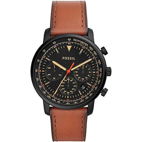 Fossil Herren Chronograph Quarz Uhr mit Leder Armband FS5501