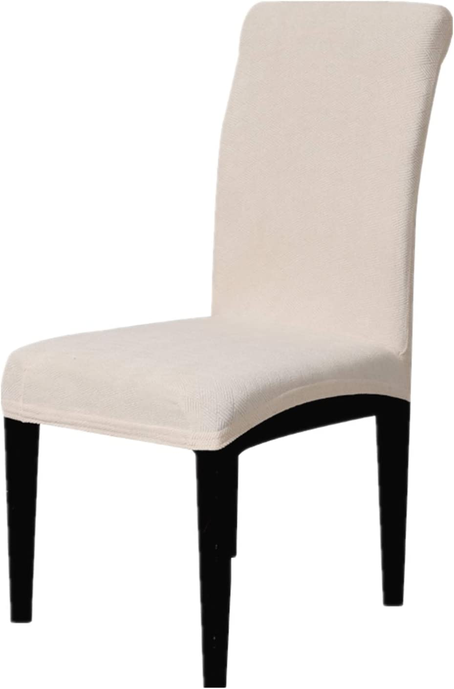 Enova Home Modern Jacquard Stretchy Universal Washable Removable Dining Chair Slipcover, Soft and Stretchy Slipcover (Ivory White, 4)