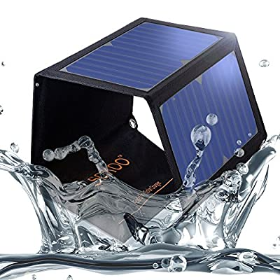 SOKOO 22W 5V 2-Port USB Portable Foldable Solar Charger with High Efficiency Solar Panel, Reinforced and Water Resistant, for Cell Phone, iPhone, Backpack and Outdoors