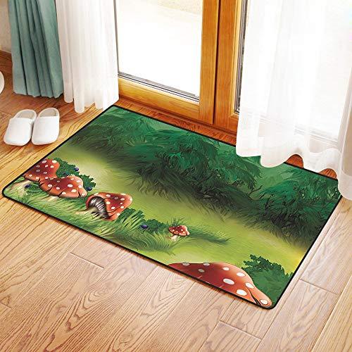 Yaoni Rutschfester Badvorleger, Fliegenpilze Magical Wonderland Rasen Wiese Landschaft Greenwood Design,Mikrofaser Duschvorleger Teppich für Badezimmer Küche Wohnzimmer 50x80 cm