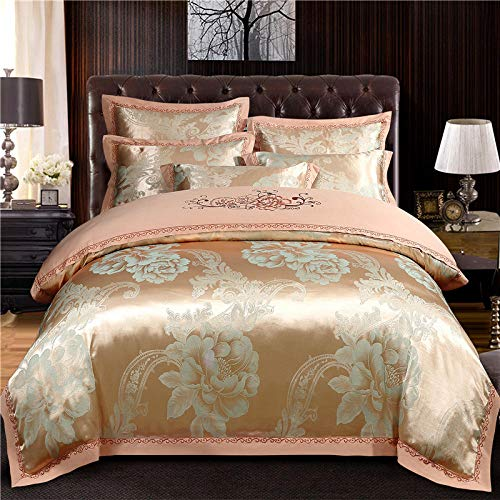 GmanXier Fitted Bed Sheet Soft Easy Care,European style jacquard satin cotton bed set embroidery quilt cover pillowcase high-end gift bedding double king-size bed-D2.0mbed(4pcs)