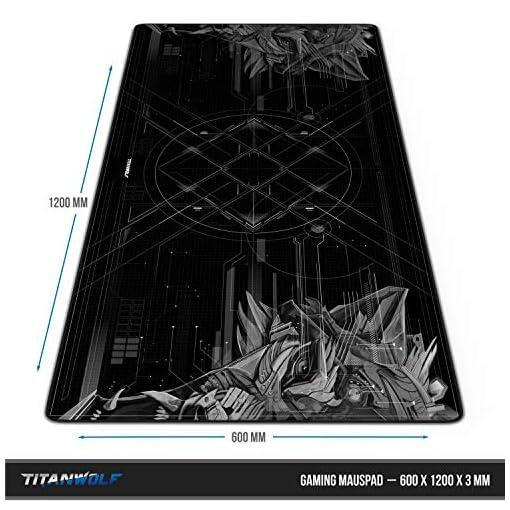 CSL – Alfombrilla de ratón de gaming Titanwolf 1200 x 600 mm – XXXL alfombrilla de ratón grande con diseño – Base de… 5