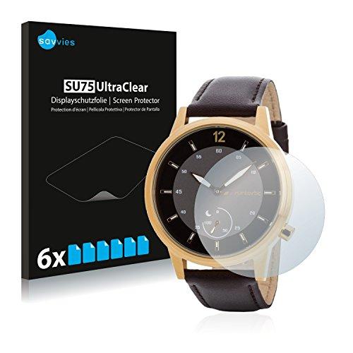 Savvies 6X Schutzfolie kompatibel mit Runtastic Moment Classic Bildschirmschutz-Folie Ultra-transparent