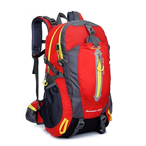 YUMOMO 40L impermeabile Zaino Escursionismo campeggio di corsa esterna zaino Sport Pack alpinismo arrampicata zaino Bag (rosso)
