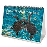 Schildkrötenzauber DIN A5 Tischkalender für 2021 Schildkröten- Geschenkset Inhalt: 1x Kalender, 1x Weihnachts- und 1x Grußkarte (insgesamt 3 Teile)