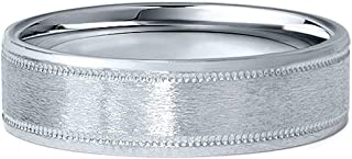 6MM Flat Brushed Platinum Mens Wedding Band Comfort Fit Ring