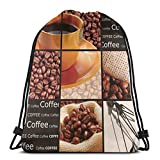 Jiger Drawstring Tote Bag Gym Bags Storage Backpack, Square Frames Collage Design with Orange Cup Hot Beverage Morning Drink,Very Strong Premium Quality Gym Bag for Adults & Children