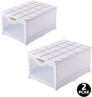 Loving You Foldable Shoe Box Stackable - 2 Pack Women Men Plastic Shoe Case Drop Front Shoe Storage Box Dustproof Shoe Container Shoe Organizer with Clear Windows for Wardrobe, Closet, Entryway