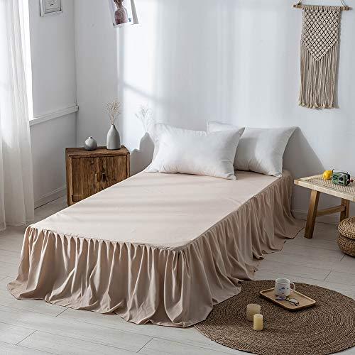 Fuyumoe ベッドスカート シングル アンティーク風 簡単フィット ベッドスプレッド ベッドカバー シーツカバー おしゃれ フリルデザイン 伸縮 無地 洗える ベージュ (シングル 100cmx200x45cm)