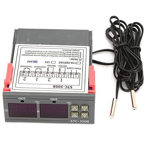 EVTSCAN Último controlador de termostato de temperatura digital con sensor de sonda NTC dual STC-3008 de pantalla dual (110-220 V)(24V)
