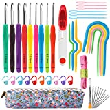 Mukum 44Pcs Crochet Kit Crochet Hooks Crochet Needles for Crocheting with Case Ergonomic Handle Crochet Hooks Knitting Needles for Arthritic Hands