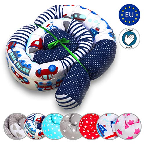 Cuna para bebé Parachoques Rollo Antialérgico Fibra hueca Algodón Cojín Vivero Serpiente Lumbar Bebé Nido Protector de cama (Patrón de coche, 210 cm)
