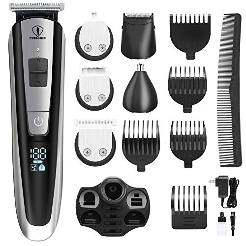 Ceenwes Men's Grooming Kit Professional Beard Trimmer Hair Clippers Hair Trimmer Hair Design Trimmer Mustache Trimmer Body Groomer/Nose Ear Trimmer for Facial Body Hairs
