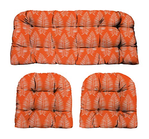 RSH Décor Indoor Outdoor Decorative 3 Piece Tufted Love Seat/Settee & 2 U-Shaped Chair Cushion Set...
