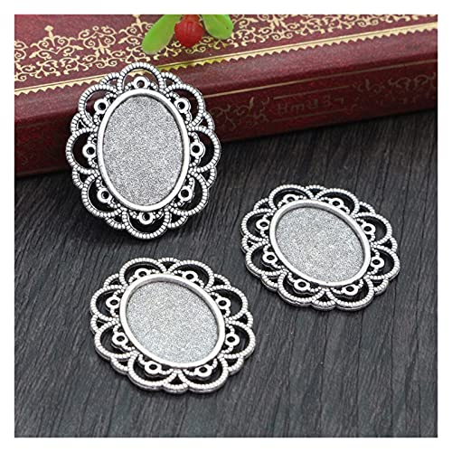 YOUZTJZ Pendant Trays 10pcs 13x18mm Inner Size Antique Silver Plated and Bronze Vintage Style Cameo Cabochon Base Setting Pendant Necklace findings Jewelry Accessories (Color : D4-23)