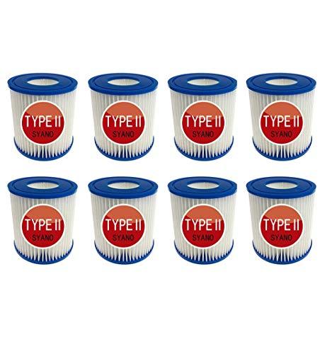 SYANO Pool-Filterkartusche Typ II,für Bestway Filter Größe 2, Poolreinigungsfilter Zubehör,Filterkartuschen Kartuschenfilter Papier zur Dekontamination und Wasseraufbereitung. (8Stück)