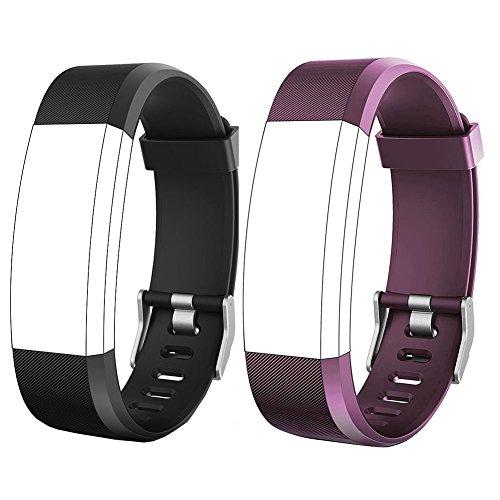 YFish Conjunto Correa Silicona de Reemplazo Ajustable para Pulsera de Actividad Inteligente Modelo ID 115 Plus HR – Negro+ Violeta