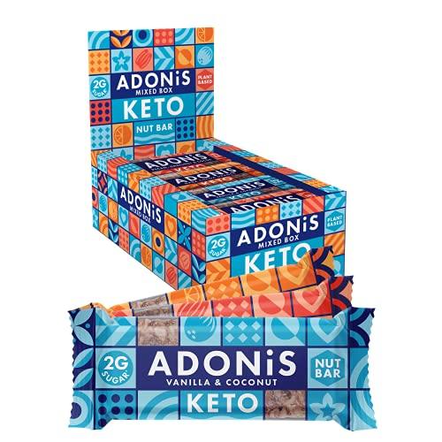 Adonis Keto Riegel   Gemischte Snack Box   100% Natürliche Nuss Snacks, Low Carb, Vegan, Glutenfrei, Low Sugar, Paleo Bars - 16er Box