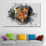 N / A Pintura Animal Leopardo Mirada Imagen Pintura de la Pared Lienzo Pintura al óleo impresión Cartel Sala de Estar decoración del hogar sin Marco 30x50cm