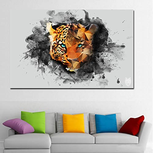 N / A Hd Art Animal Painting Leopard Head Glance Picture Wall Art Canvas Painting Poster Living Room Home Decoration Frameless 40x60cm