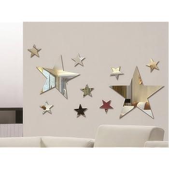 Juego de 10 pegatinas de pared creativas para espejo de cinco estrellas para dormitorio de niños, decoración para el hogar, decoración de pared de cristal 3D DIY: Amazon.es: Bebé