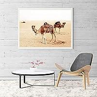 キャンバス絵画砂漠の木ラクダ風景プリントポスター壁アート写真リビングルームオフィス家の装飾-50x70cmフレームなし