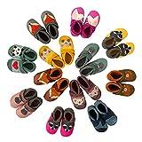 Pantolinos Patucos de animales de piel ecológica fabricados en Alemania, zapatos para aprender a andar, como regalo para niños y niñas, zapatos de bebé de piel suave, color Amarillo, talla 18/19 EU