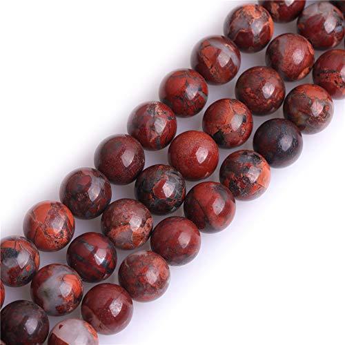 Gem Inside natürliche 8 mm rote Blume Achat runde Halbedelsteine Perlen für Schmuckherstellung 38,1 cm
