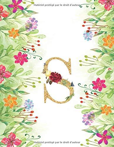 S: Monogramme Initial Lettre S cahier - Carnet de notes, journal, élégant, luxueux - Cahier classique Page à rayures - 110 pages Grand format 21.59 x 27.94 cm (8.5 x 11)