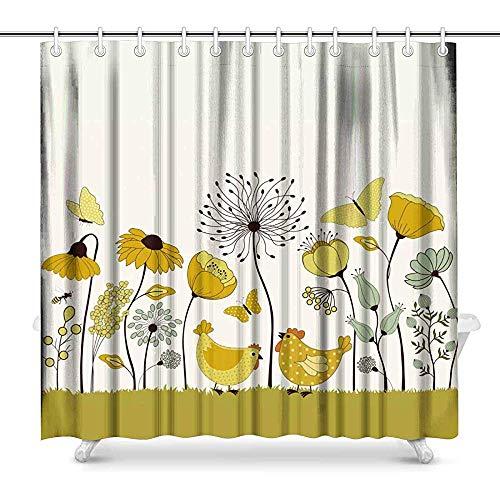 FANCYDAY Nettes Karikatur-Huhn zwischen Blumen Butterly & Bienen-Haus-Dekor-Duschvorhang für Badezimmer, dekorativer Badezimmer-Duschvorhang