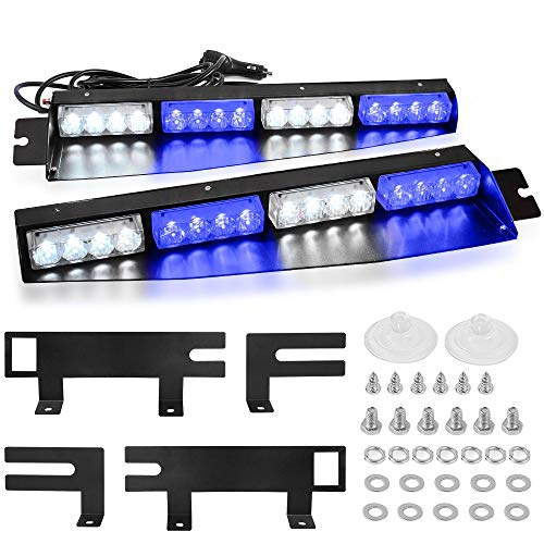 Blue White Visor Emergency Lights, YITAMOTOR 2-16LED 96W 15 Flash Patterns Emergency Hazard Warning Strobe Beacon Windshield Interior Split LED Visor Lights with Extended Bracket (18 Inch- Blue&White)