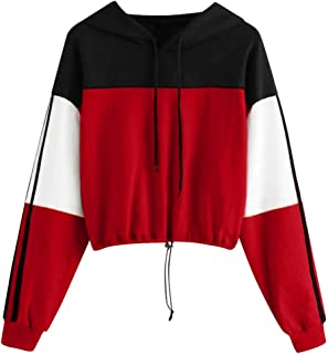Severkill Women's Casual Long Sleeve Colorblock Pullover Sweatshirt Crop Top Blouse with Drawstring