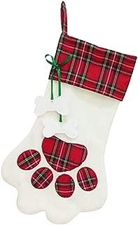 Auony Dog Paw Christmas Stocking, Pet Dog Hanging Christmas Stocking for Christmas Decorations -18 x 11 Inch