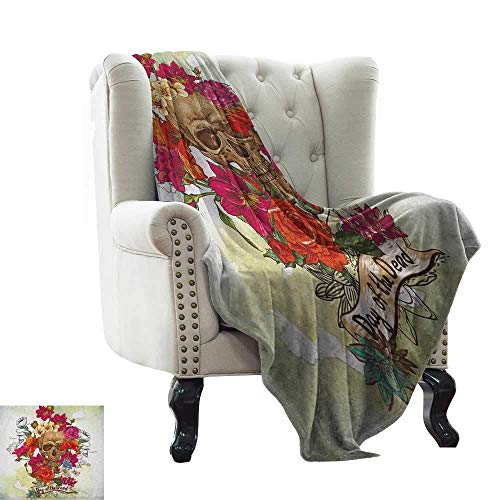 Beach Blanket Day of The Dead,Skull Dead Head with Flowers Daisies Spanish Festive Tradition Celebration, Multicolor Blanket for Sofa Couch TV Bed All Season 60'x62' 60' X 80'