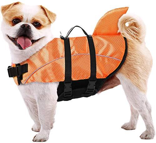 Chaleco salvavidas para perro chaleco reflectante chaleco salvavidas de seguridad con mango de rescate de aleta de tiburón para salvavidas pequeño, mediano y grande, naranja, XL