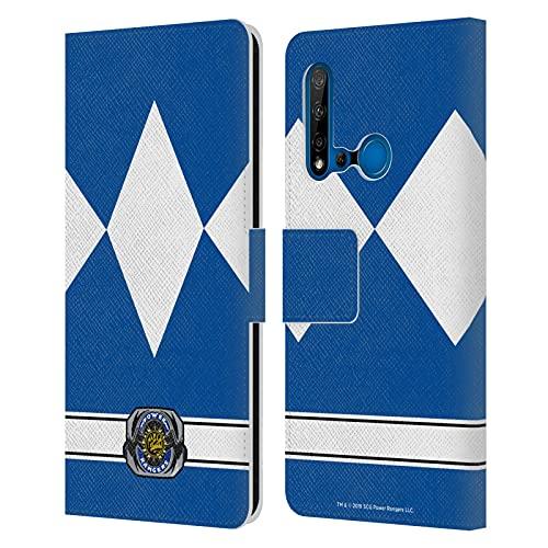 Head Case Designs sous Licence Officielle Power Rangers Ranger Bleu Costumes Rétro Coque en Cuir à Portefeuille Compatible avec Huawei P20 Lite (2019)