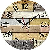 Reloj de pared con pilas para casa de campo, silencioso, no se hace tictac, de madera, estilo antiguo, rústico, para decoración del hogar, cocina, sala de estar, oficina (12 pulgadas)