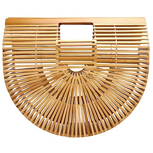 KAKAKE Bolsa de bambú, Bolsa de Playa de Verano para Viajes de Citas(L)