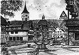 Kunstverlag Christoph Falk Einfarbige Radierung Lenzkirch, Brunnen mit Kirche als Loses Blatt