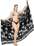 LA LEELA Damen Badeslip Sarong Strandkleid Tropische Pareo Bademode Cover Up Strandtuch Sommer Wickel Schwarz_T414 Einheitsgröße