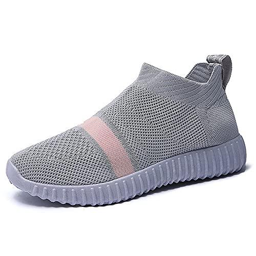 huleiy Zapatos Vulcanizados para Mujer Zapatillas De Deporte Respirables A La Moda Zapatos Informales con Cordones para Mujer Gris Gray 37