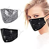 Genovega Cloth Face Mask Washable Reusable Fabric Party Glitter Bling Mesh Rhinestone Breathable Decorative Party Covering Adjustable mascarillas for Women Summer Diamond Sparkly Sequin with Designer